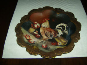 Rooster plate/stand and glass rooster