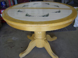 Round Expandable Kitchen/Dining Table, with 4 Chairs (Optional)