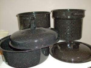5 Pc NEW Pots Set + 3 Stainless Steel Pots + NEW Frying Pan