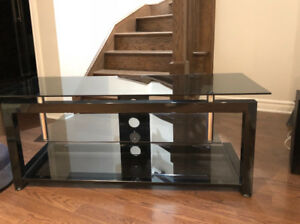 Modern TV Stand with Upper and Lower Dark Glass