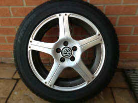 As new Tyres. Three excellent alloys & tyres. Fourth one Damaged