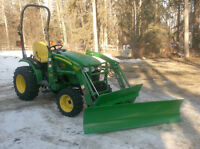 John Deere 6 foot blades, tree scoops, pallet forks