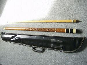 Pool Cue with Carved Wood, and Mother of Pearl Inlays