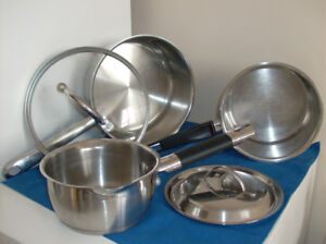 3 Stainless Steel Pots - Great Cond. + Clean & New Frying Pan