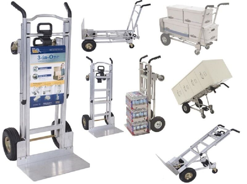 Cosco 3 in 1 Aluminum Hand Truck Dolly 2 or 4 Wheel 1000lbs
