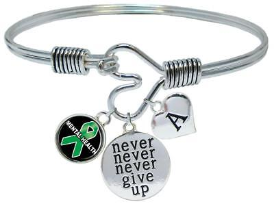 - Custom Mental Health Awareness Never Give Up Bracelet Choose Initial Family