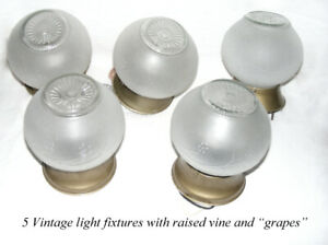 Vintage 5 Ceiling light fixtures, frosted glass grape vine globe
