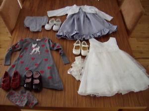 Robes et souliers filles 18 à 24 mois