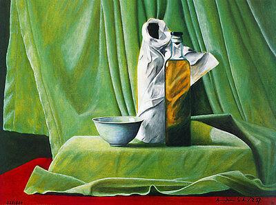 Andreas Scholz Stillleben grün handsigniert Poster Kunstdruck Bild 60x80cm