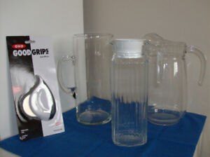 3 New Glass Juice Pitchers + New Herb Mincer by Good Grips