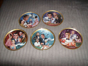 5 Franklin Mint Assiettes décorative James Bond 007