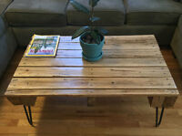 NEW Rustic Reclaimed/Recycled Oak Coffee Table on Hairpin Legs