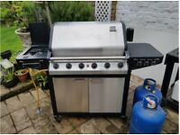 BBQ, enamelled grills, 5 gas burner plus side gas ring, stainless hood, plus 2 gas bottles
