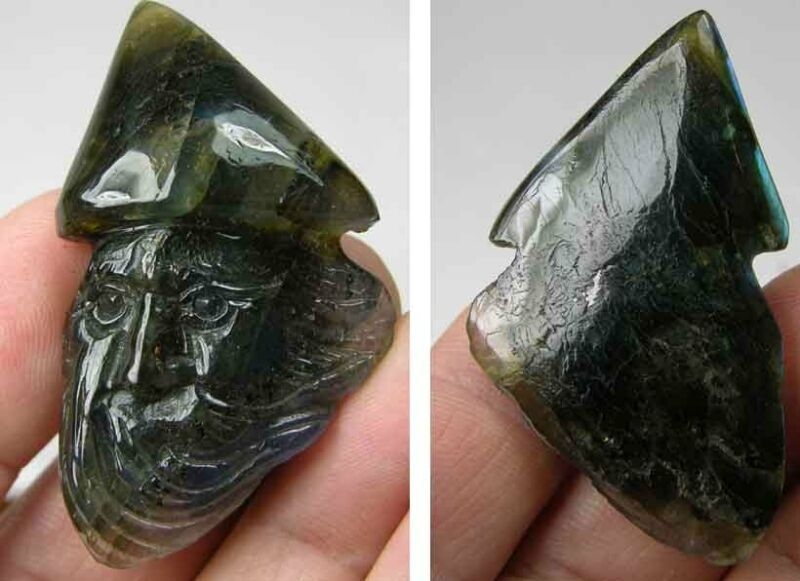 75.35ct Or 15.05g Hand Carved From 100% Natural Rough Labradorite Wizard Figure