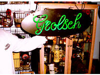 LIGHT UP NEON RETRO GROLSCH BEER SIGN: MAN CAVE, PUB SHED, HOME BAR, BREWERIANA, POOL TABLE ROOM