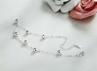 Women's 925 Sterling Silver SP 7 Bells Foot Ankle Bracelet Anklet 8+1.5