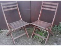 Pair Of Teak Garden Or Patio Folding Chairs