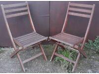 Pair Of Teak Garden Or Patio Folding Chairs