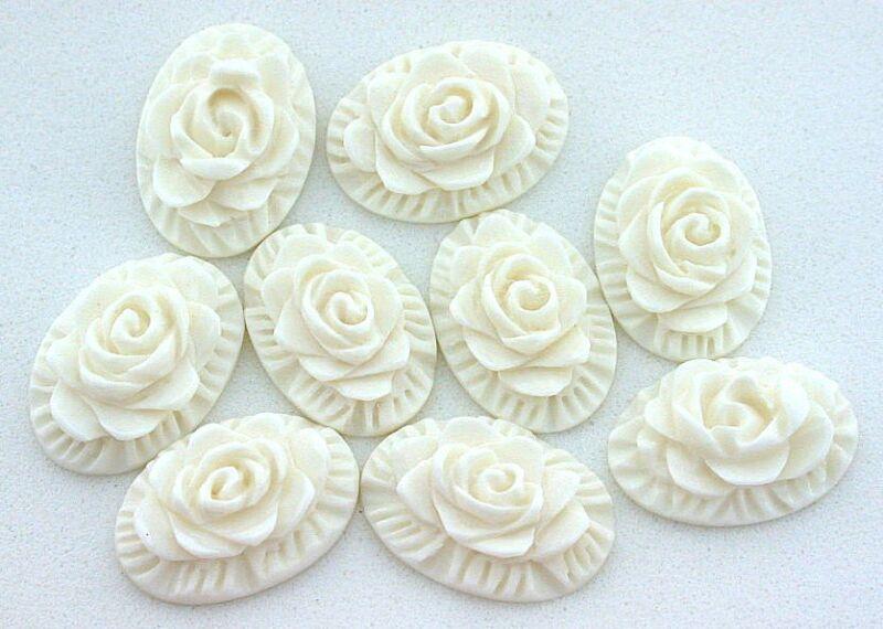 TWO 18x13 Angel Skin Coral Rose Flower Carving Carved Cab Gemstone Gem Cabochon