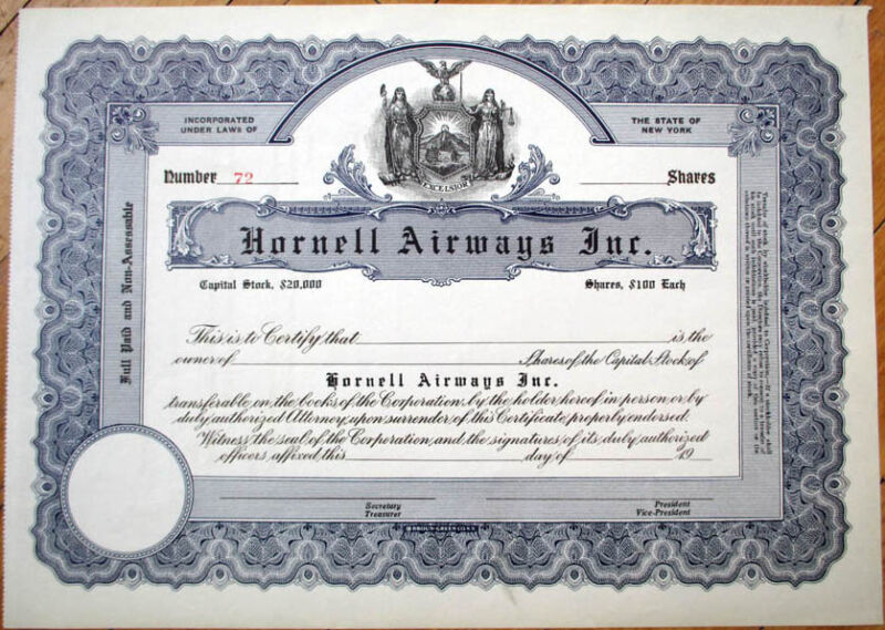 1920 Aviation/Airline Stock Certificate: