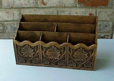 Vintage Lerner Desk Top Organizer Faux Carved Wood Finish 6 Compartments Floral