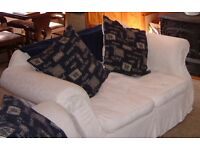 Sofas, three and two seaters, navy cream, washable covers, also poof