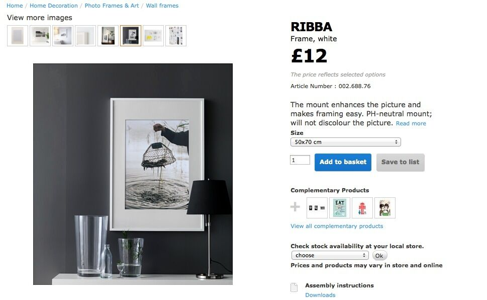 Affordable Used Ikea Ribba Frame White X Cm Free A Photo With Ram 50x70