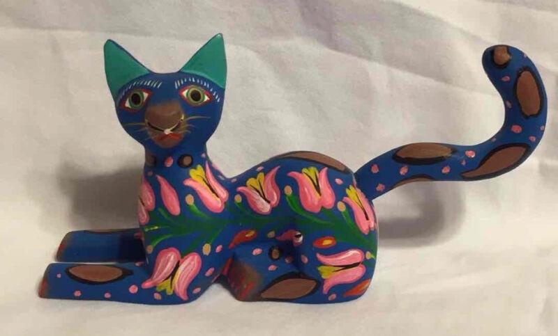 Alebrije OAXACAN Opal Wood Cat JOSE OLIVERA PEREZ Mexican Folk Art HANDMADE