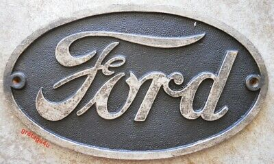 Ford Oval sign cast iron antique finish plaque Garage Man Cave Den Oval Antique Finish