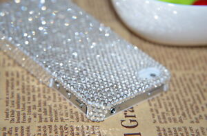 White Luxury Bling Shine Crystal Diamond Rhinestone Case Cover for iPhone 4 4S