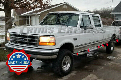 1987-1996 Ford F-Series Pickup Crew Cab Short Bed Chrome Rocker Panel Trim-6""