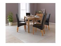 ARGOS HOME BROMHAM OAK DINING TABLE WITH 6 SKIRTED FAUX LEATHER CHAIRS CHOCOLATE BROWN COST £400
