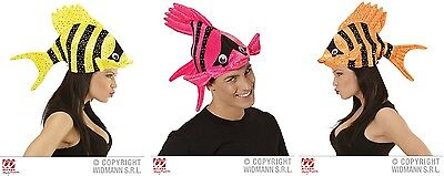 Fischmütze Tropenfisch gelb pink orange für Kostüm Hut Fisch Fischhut
