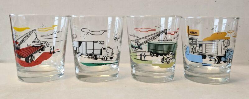 Vintage MCM Libbey Truck Industrial Drinking Glasses Tumbler Set 4 Low Ball Bar