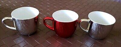 Starbucks Holiday 2007 Set of 3 Mini Shot Glass 4oz Chrome Mirror Mug Cup Red -