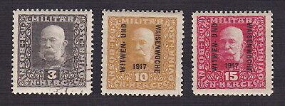 Bosnia & Herzegovina 1916-17 Scott 86, B11, B12 - Emperor Franz Joseph I - MNH