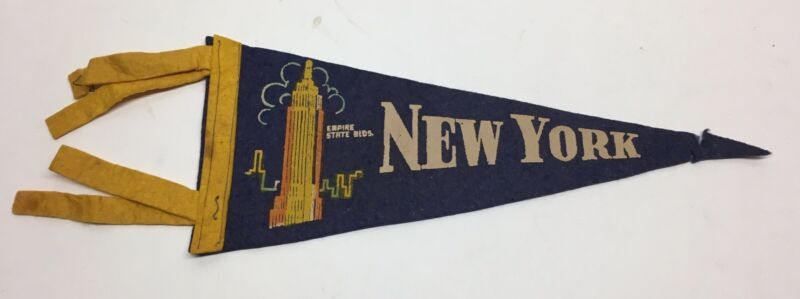 Vintage Felt Pennant Empire State Building NY New York