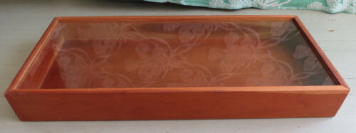 WOODEN TABLE TOP DISPLAY CASE WITH SLIDING LID