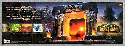 World of Warcraft Original PC | 2004 Vintage Fold-Out Print Ad Art Rare Blizzard