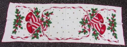 Vintage Christmas Table Runner Bells Ribbon & Holly Designs