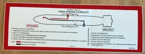NAVY P-3 ORION CO-PILOT DITCHING-BAILOUT PLACARD STICKER PATROL SQUADRON