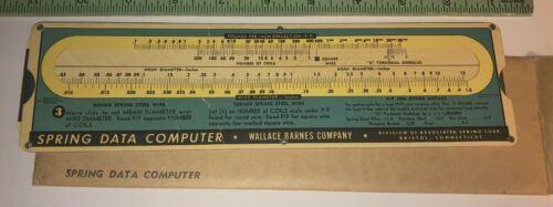 Vintage Slide rule Wallace Barnes Co Spring Data computer