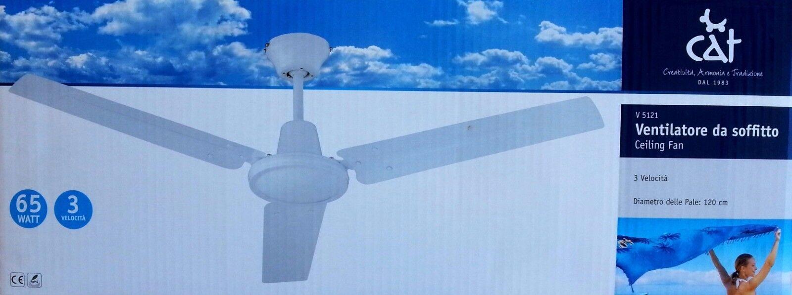 ventilatore da soffitto con comando a parete 3 pale 65 watt Ø 120 cat v5121