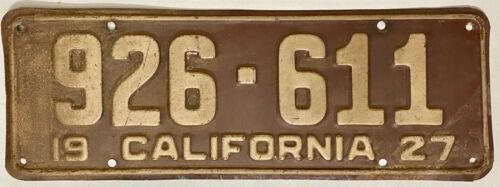1927 CALIFORNIA License Plate #926-611