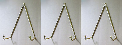 (Set of 3 Brass Plate Hanger, Displays Plates on Wall Size 5