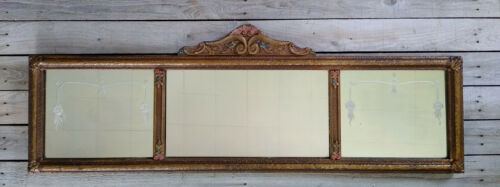 Vintage Art Deco Gold Polychrome Floral Etched 3 Panel Buffet Mantle Wall Mirror