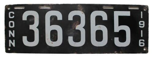Connecticut 1916 Porcelain License Plate 36365, Antique, Garden Art, Garage Sign