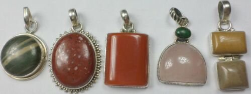 5 Vintage 925 Sterling Silver Quartz, Carnelian, Jasper Agate Pendant 59 Grams