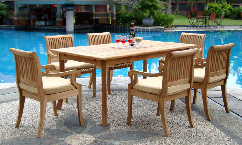 """7-piece Outdoor Teak Patio Dining Set: 83"""" Rectangle Table, 6 Arm Chairs Giva"""