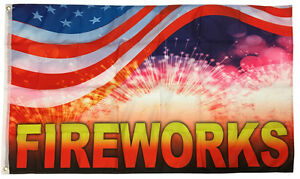 Fireworks Flag 3x5 Ft  Sign Banner - rb